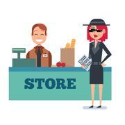 Mystery shopper woman in spy coat checks grocery store Stock Illustration