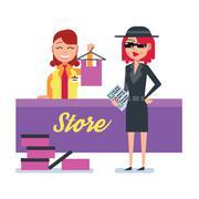 Mystery shopper woman in spy coat checks clothing store Stock Illustration