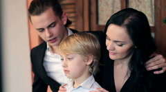 Young family with beautiful children Stock Footage