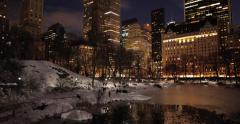 New York City Central Park in snow at night Stock Footage