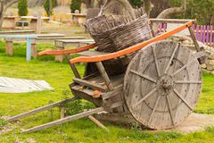 Old retro transport wagon out in a park. Stock Photos