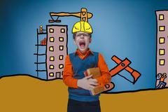 Adolescent boy in glasses retro screaming builder in a helmet of Stock Photos