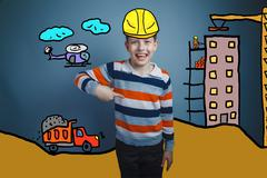 Adolescent boy laughing and pointing down a builder in a helmet Stock Photos