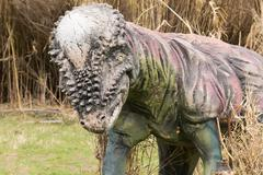 Prehistoric dinosaur model at the park of dinosaurs in Greece. - stock photo