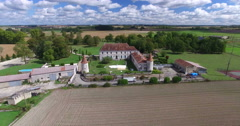 Aerial view of Bourbet Castle, France Stock Footage