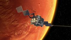 Interplanetary Space Station Deploys Solar Panels In Orbit Of The Mars Stock Footage