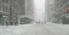 Driving in Snow Blizzard in Manhattan New York 4K Stock Video Stock Footage