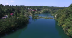 Aerial view of Mreznica river, Croatia Stock Footage