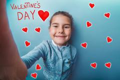 girl adolescence smiling valentine's day celebration cartoon ske - stock photo