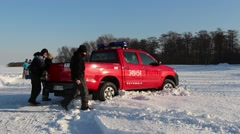 Fire brigade buried in the snow Stock Footage