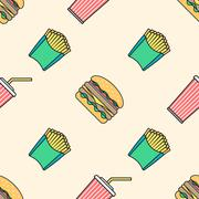 cola hamburger french fries colored outline seamless pattern. - stock illustration