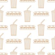Stock Illustration of sub sandwich cola cold drink paper cup outline seamless pattern.