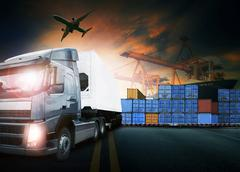 Stock Photo of container truck ,ship in port and freight cargo plane in transpo