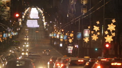 One of the main streets traffiic at night. Belgrade, Serbia, europe - stock footage