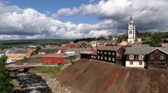 View to the copper mines town of Roros in Roros, Norway Stock Footage