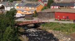 View to the copper mines town of Roros in Roros, Norway. Stock Footage