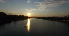 Rowing boat on Jarun lake at sunset Stock Footage