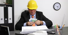 Building Site Manager Nervous Man Overworked Many Invoices Euro Cash Problems Stock Footage
