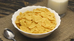 Corn-flakes rotating on table Stock Footage