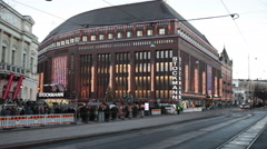 Building of the Stockmann shopping center. View from Mannerheimintie, Helsinki Stock Footage