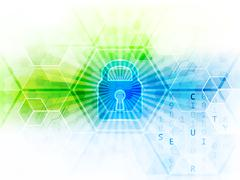 Abstract technological background with global security concept. Lock, hexagon - stock illustration