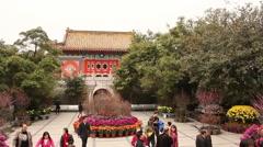Courtyard of Po Lin Monastery, Hong Kong - stock footage