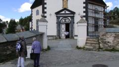 Tourists visit Roros church in Roros, Norway. Stock Footage