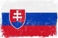 Slovakia Vector Flag on White - stock illustration