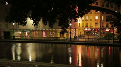 View of Canal St. Martin in Paris, France Stock Footage