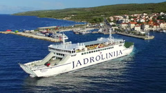 Ferry leaving port in Supetar Stock Footage
