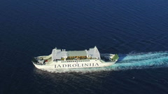 Aerial view of ferry sailing Stock Footage