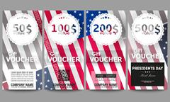 Set of modern gift voucher templates. Presidents day background with american Stock Illustration
