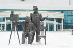 December 2015. Monument to the Lumiere brothers in Yekaterinburg. - stock photo