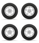 set icons car wheel tire from the disk vector illustration - stock illustration