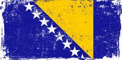 Bosnia and Herzegovina Vector Flag on White - stock illustration