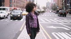 Portrait of Afro American Female standing in street, Manhattan New York Stock Footage