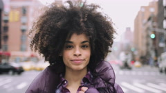 Portrait of Afro American Female standing in street, Manhattan New York - stock footage