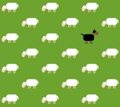 Black Sheep Pasture Comic Wallpaper - stock illustration