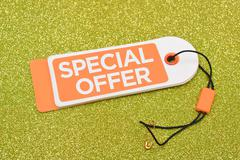 Special Offer Tag on glitter background - stock photo