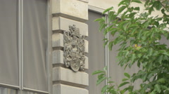 Coat of arms on a building in Vienna Stock Footage