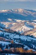 Mountainous area  on winter morning Stock Photos