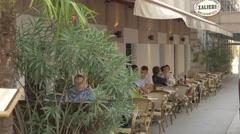 Relaxing at Salieri Restaurant, on Seilerstätte street, Vienna Stock Footage