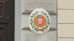 Embassy of Portugal sign in Vienna Stock Footage