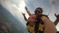 Sky diving tandem in Brazil Stock Footage