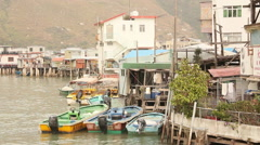Traditional Hong Kong fishing village Stock Footage