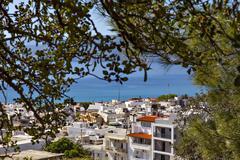 Hilltop view of Agios Nikolaos - stock photo