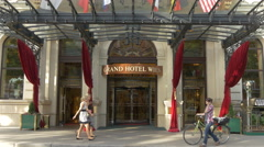 The entrance of Grand Hotel Wien, Vienna Stock Footage
