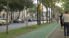 Traffic on a street in the first district of Vienna Stock Footage