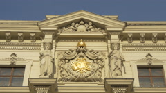 Statues and golden bas-relief on the Kasino Movie Theater in Vienna Stock Footage