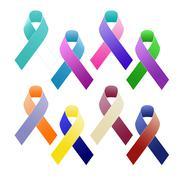 Multi coloured awareness ribbons Stock Illustration